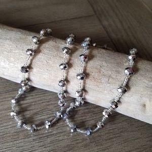 Van Husen long silver beaded necklace